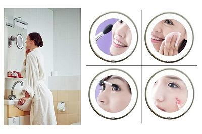 JiBen LED Lighted 10X Magnifying Makeup Mirror | Best lighted makeup mirror
